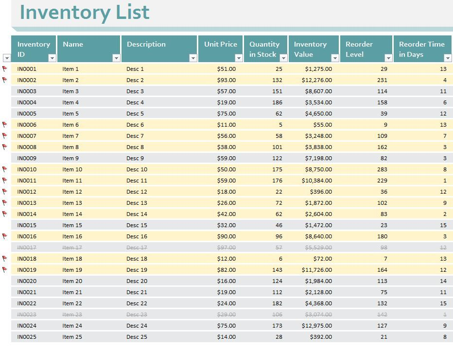 Small Business Inventory Templates for Excel - enabling small