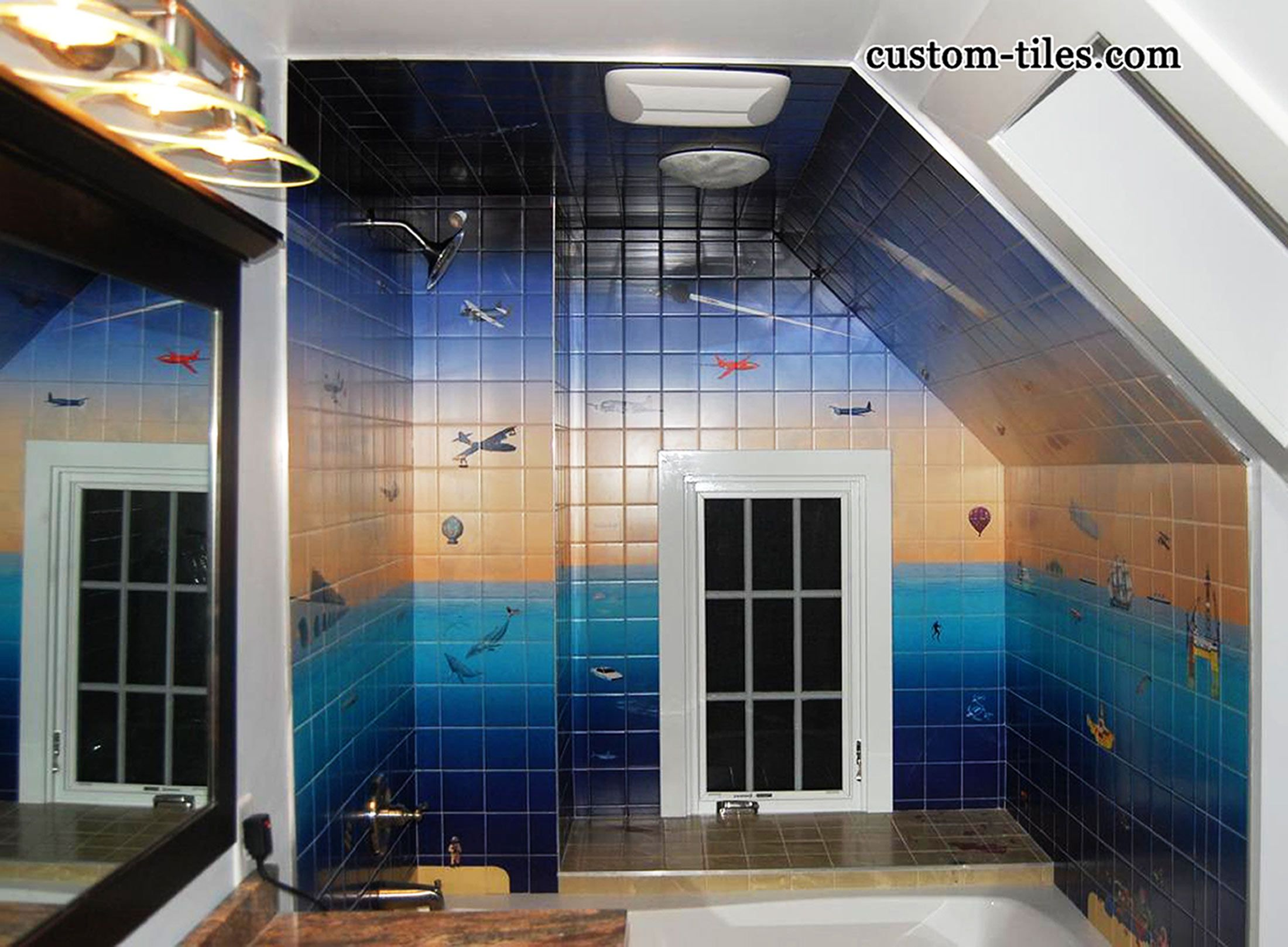 CUSTOM TILE MURAL IN BATHROOM completely surrounds bath and shower ...