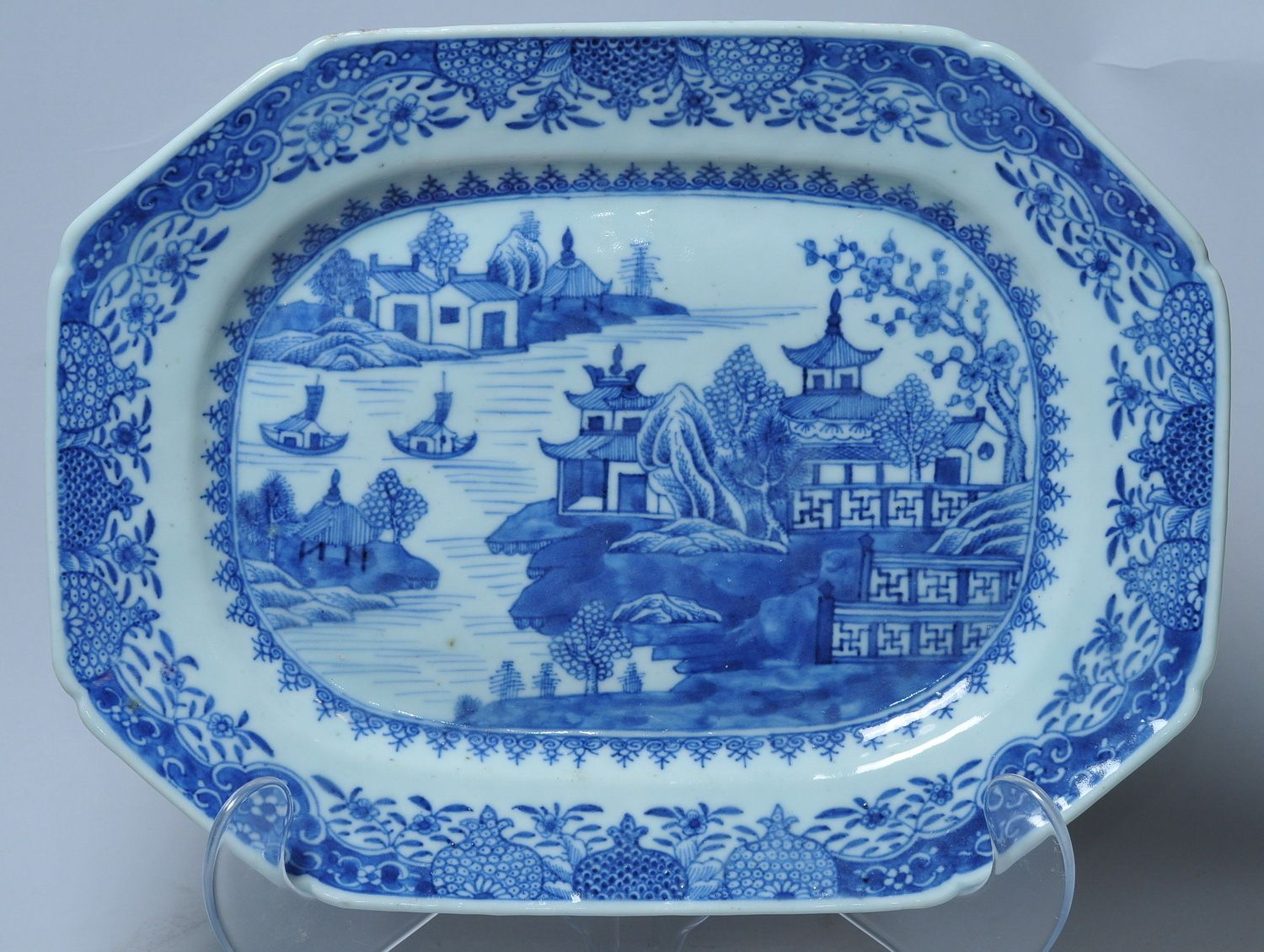 1800s Antique Chinese Blue White Landscape Painting Porcelain Plate ...