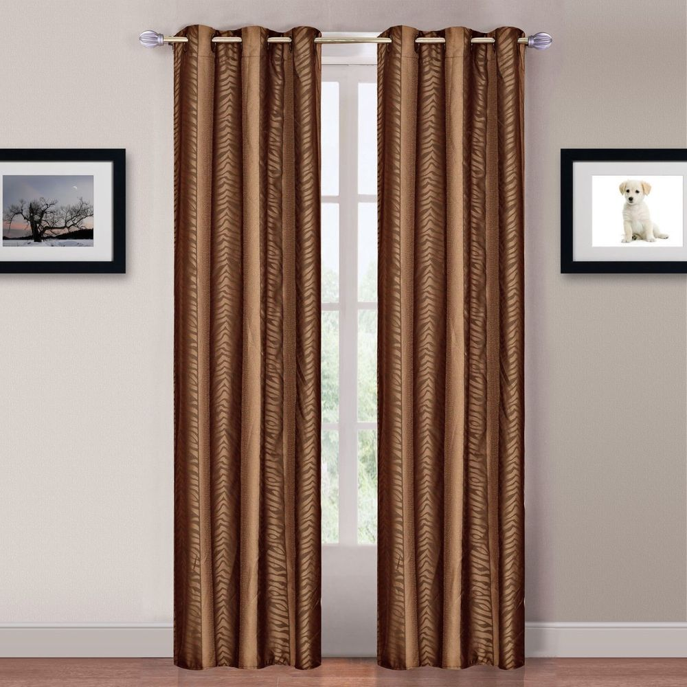 NEW Set 2 Window Curtains Panels Drapes 84 in L Grommet Tiger Stripe Brown NWT in Home & Garden | eBay