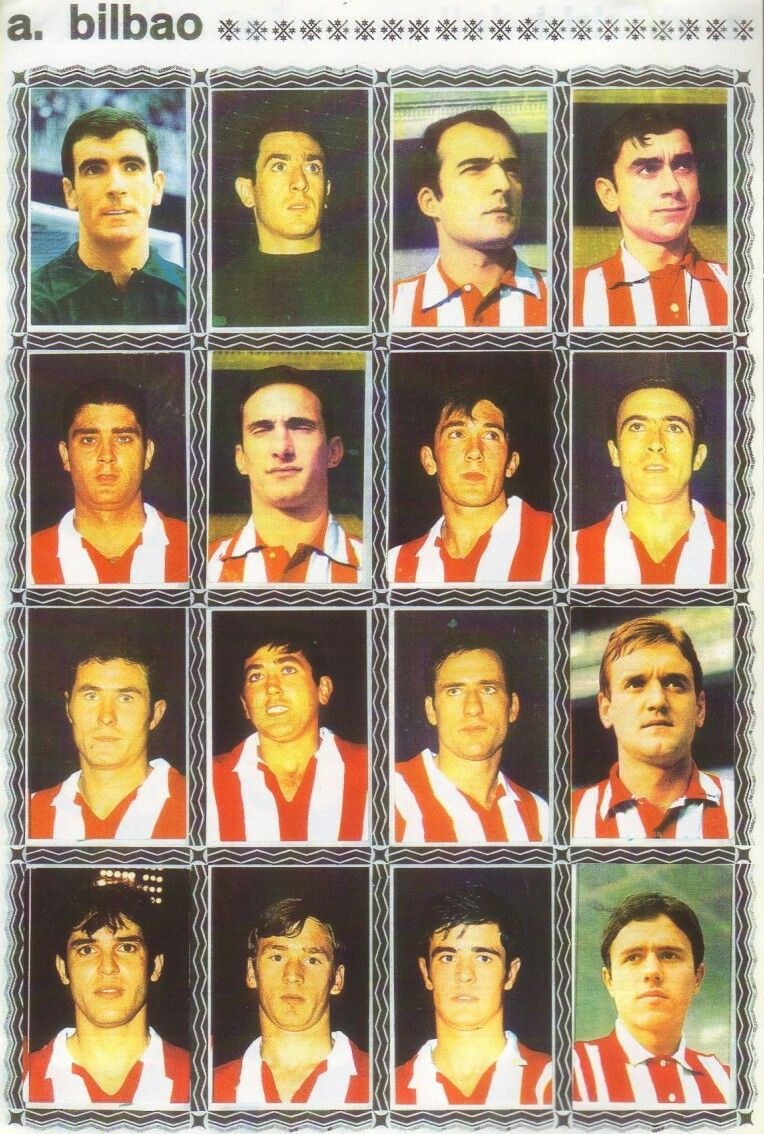 Athletic Bilbao team stickers for 196970. Athletic