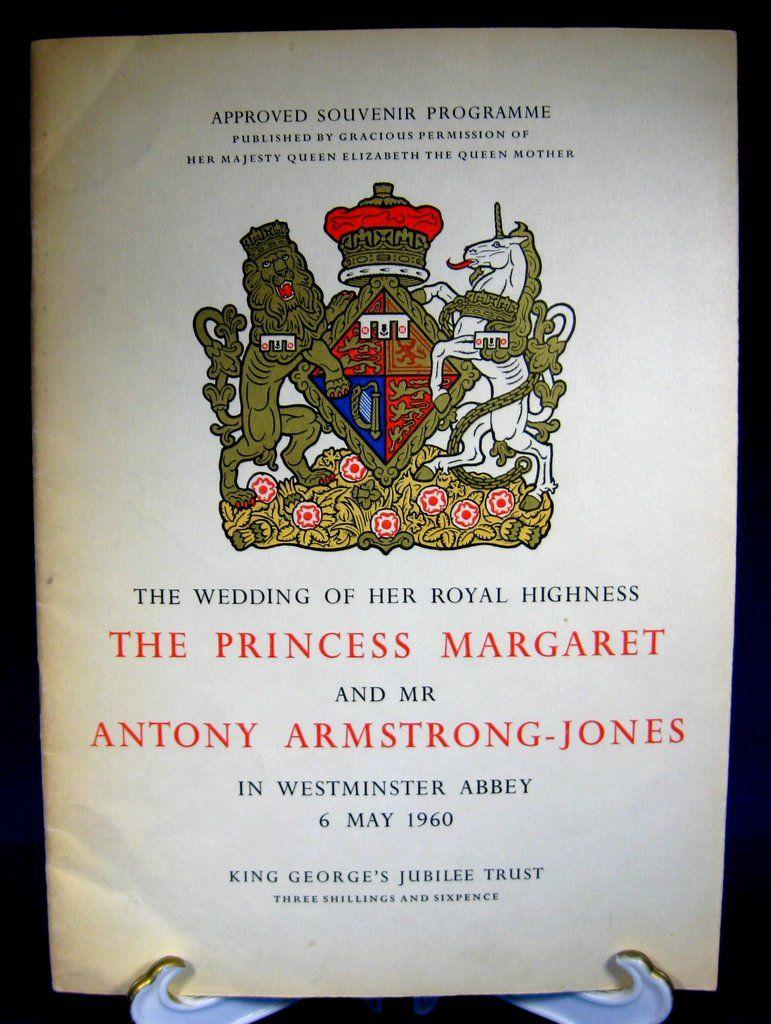 Princess Margaret Royal Wedding Programme Program 1960
