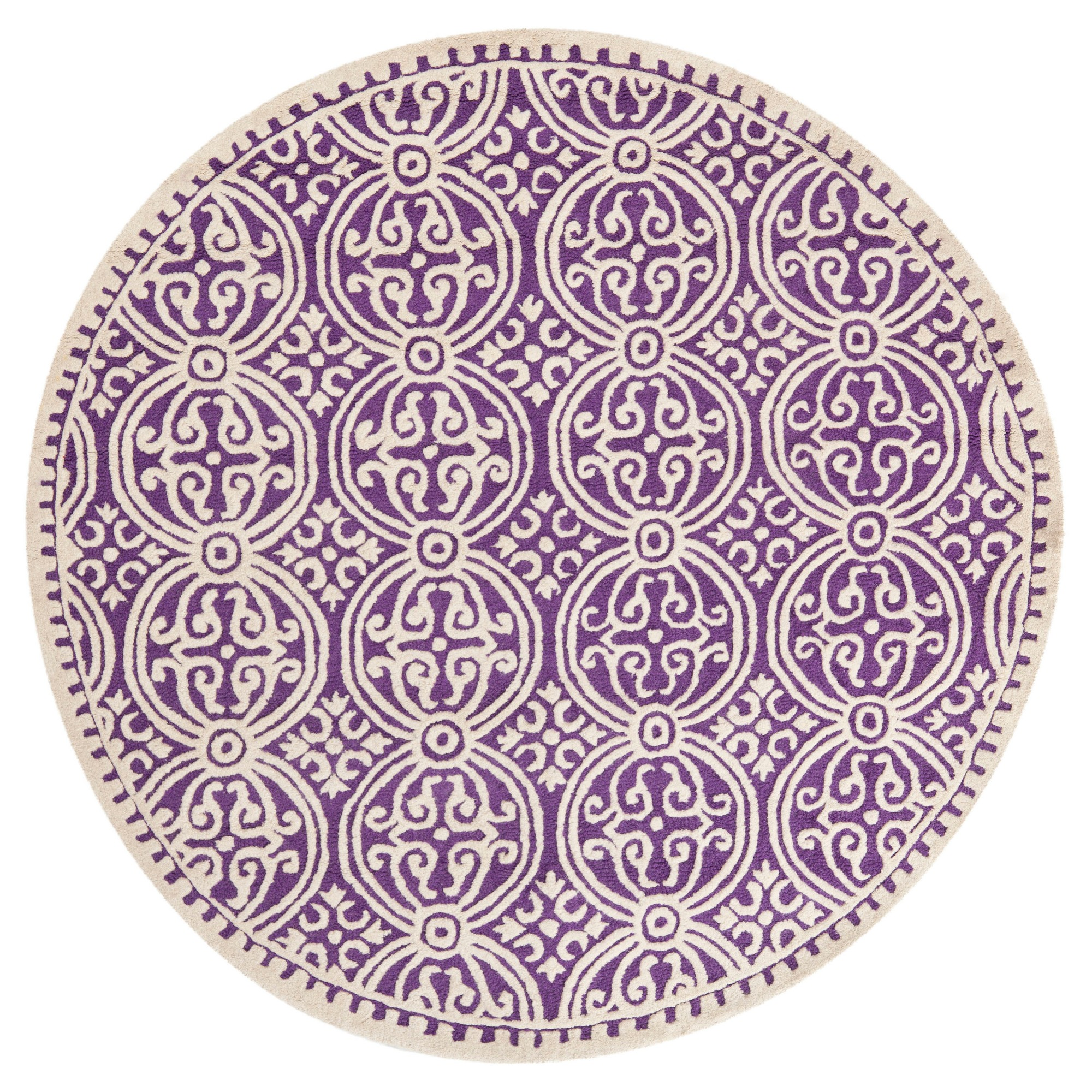 f22da7a42b45fd Purple/Ivory Color Block Tufted Round Accent Rug 4' - Safavieh, Size ...