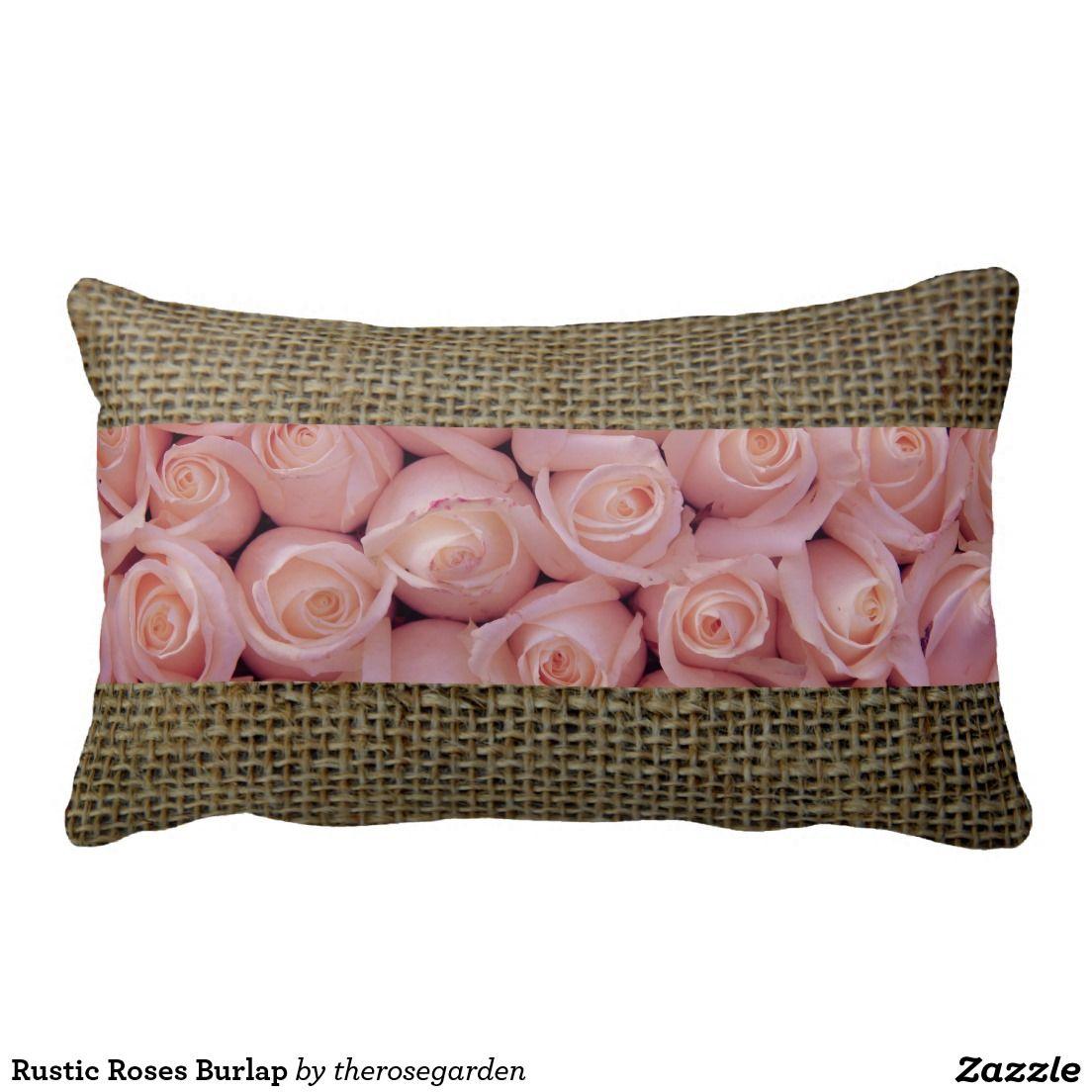 Rustic Roses Burlap Pillows