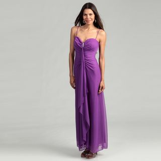 @Overstock - Add a touch of class to your ensemble with this opulent gown from Onyx Nites, highlighting a comfortable polyester construction. A rhinestone brooch accent at the neck and rouche-front detailing make this gown truly unique.http://www.overstock.com/Clothing-Shoes/Onyx-Nite-Womans-Grape-Spaghetti-Strap-Gown/6459304/product.html?CID=214117 $44.99