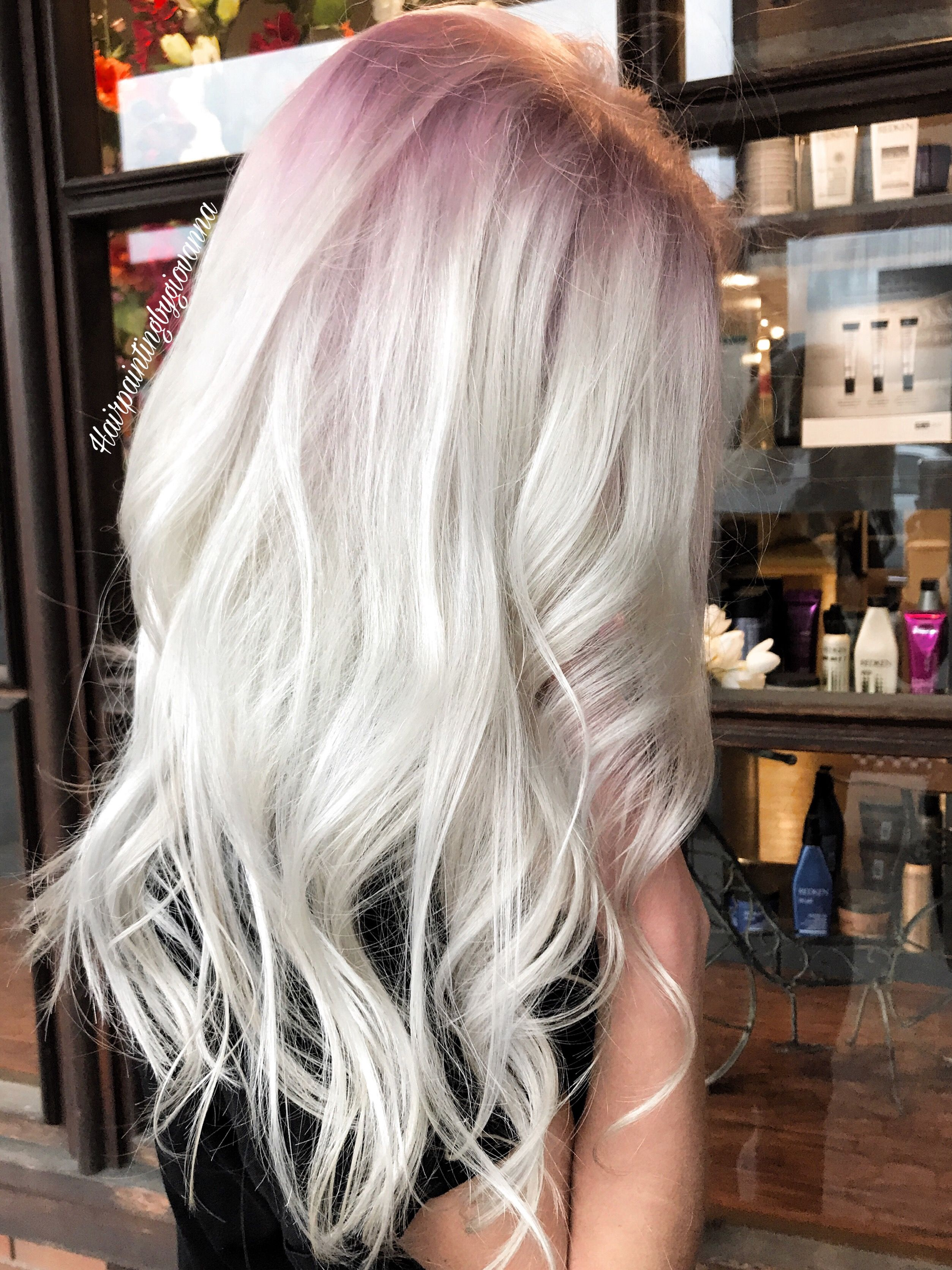 Stunning platinum hair with a subtle rose gold shadow root ...