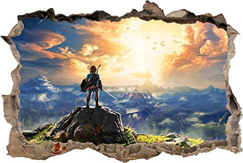 Link Legend Of Zelda 3D Smashed Wall Sticker Decal Home Decor Art Mural J590