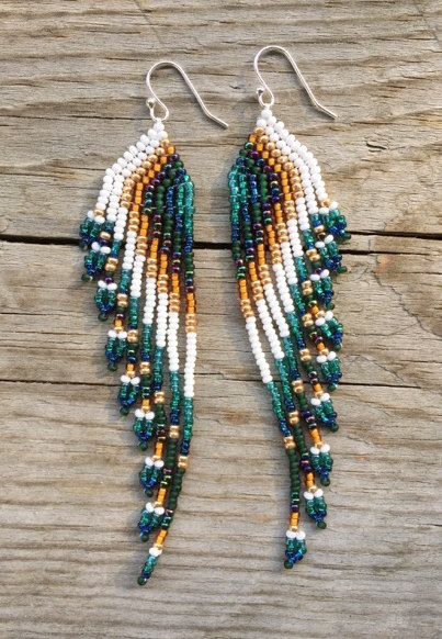 Stunning Nine Strand Shoulder Duster Earrings Measuring About 4 Long Made With Czech Seed Beads Featuring Blue Turquoise Green Orange