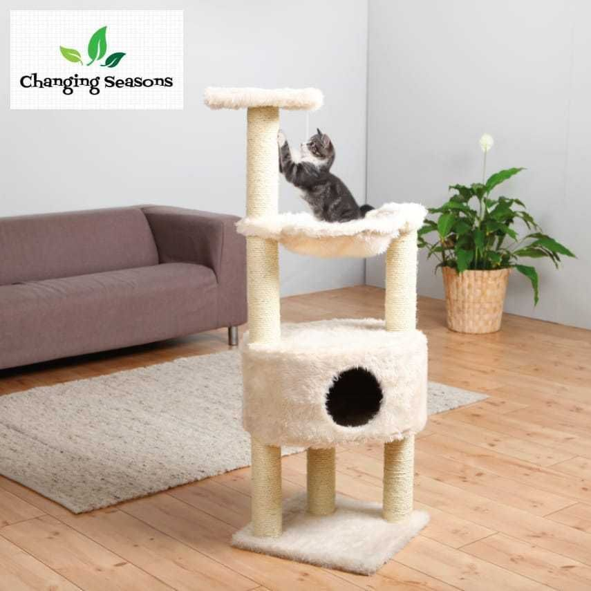 large cat condo activity tower with scratching post hammock and dangling toys  trixiepetproducts large cat condo activity tower with scratching post hammock and      rh   pinterest