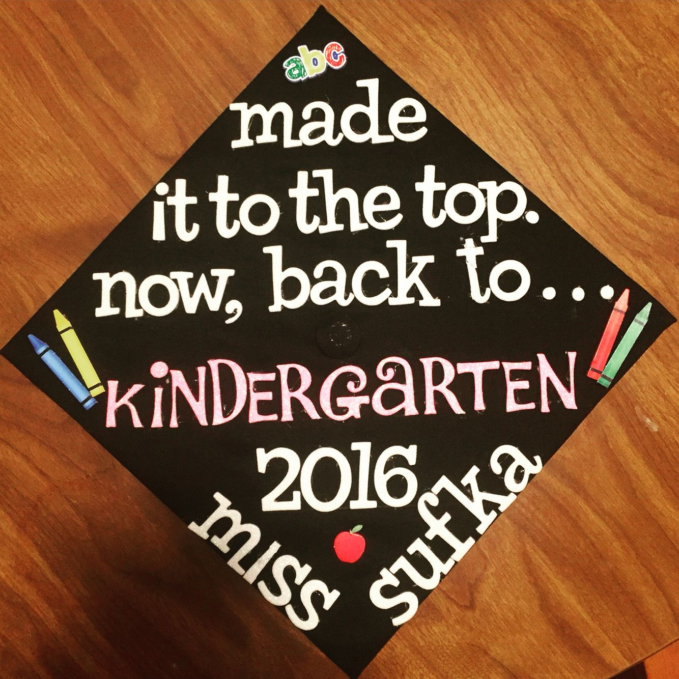 Decorating graduation cap ideas for teachers - Graduation Cap For Future Kindergarten Teacher