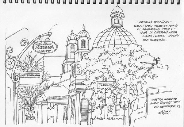 Hasil Gambar Untuk Sketsa Tempat Wisata Sketch Sketches Taj