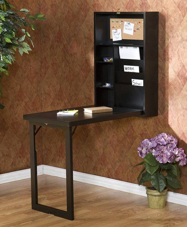 Convertible Fold Out Wall Cabinet Desk In Painted Black Finish