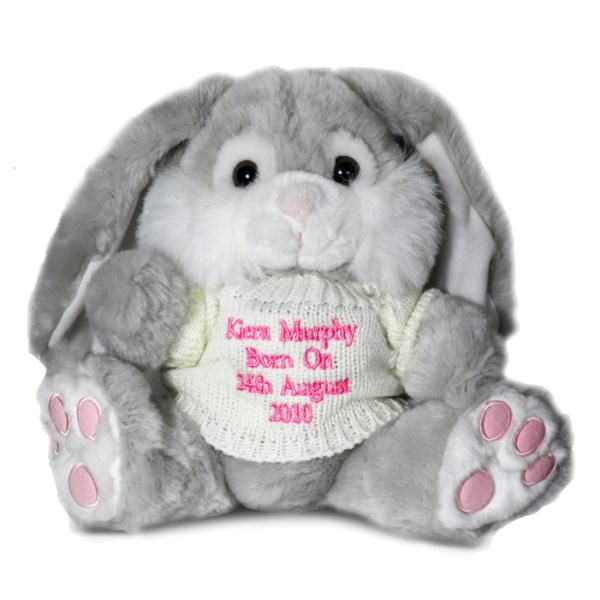 Personalised girls grey bunny teddy pink thread chambers home easter gift ideas personalised message bunny with pink message easter gift for girls negle Images