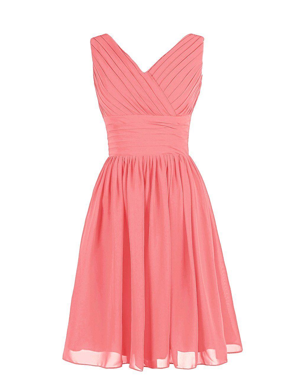 Dressystar Summer Chiffon Short Bridesmaid Dresses V Neck Homecoming ...