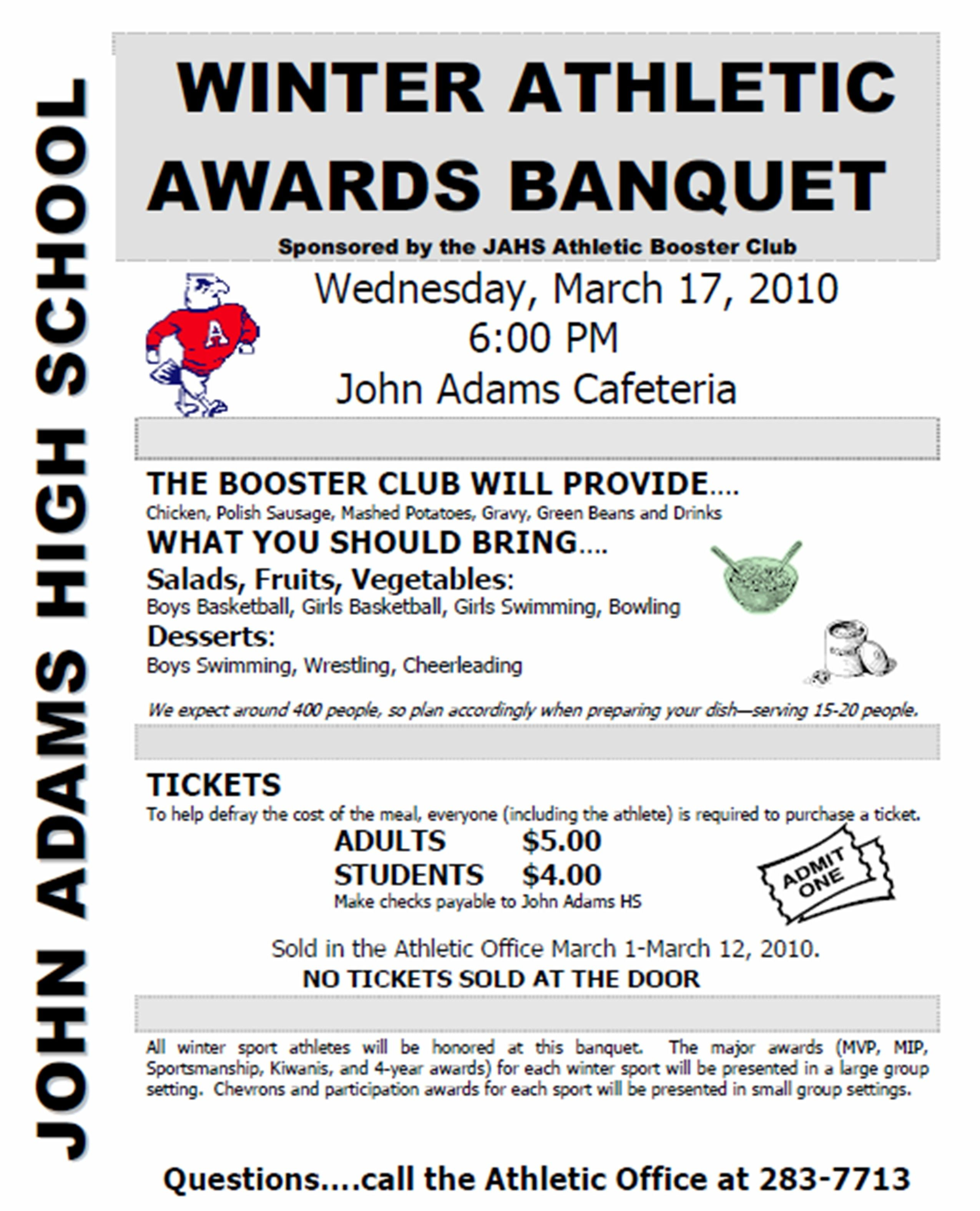 Sports Awards Banquet Program Template | Athletic booster ...