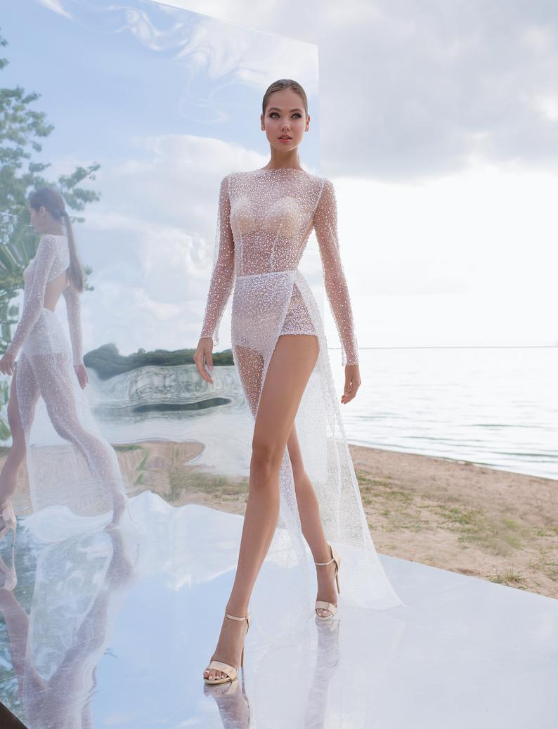 Sexy illusion bodysuit transparent wedding dress open lace glitter light bodysuit skirt tulle modern bohemian beach simple wedding nude sexy