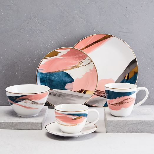 e9c55ac33d Abstract Brushstroke Salad Plate - Pink/Gold in 2019   A part mint ...
