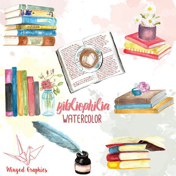 Bibliophile Watercolor Handpainted Clip Art Books Reading