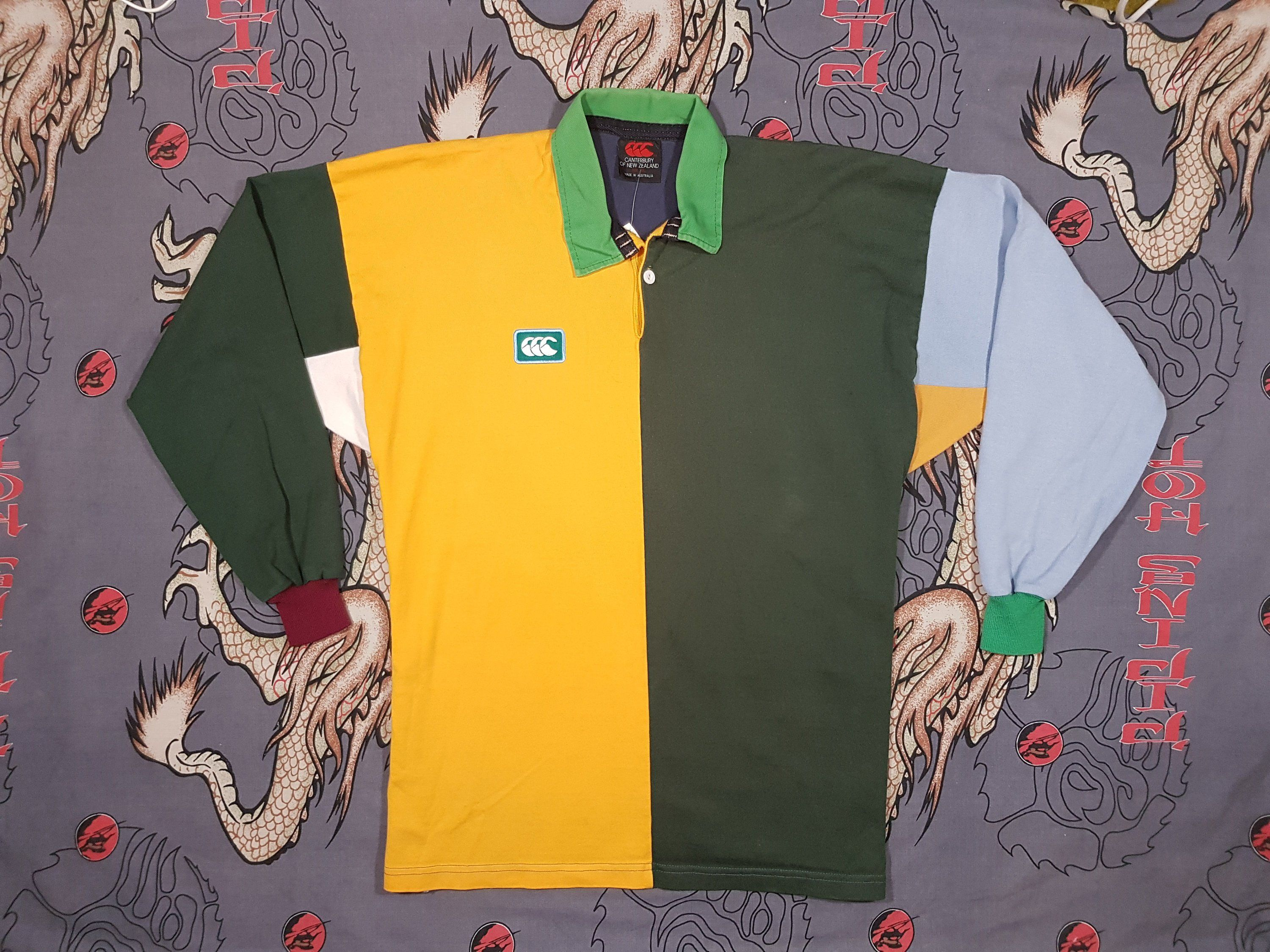 45c308aa424 Vintage 90s Canterbury Rugby Jersey, Green and Gold Australia, Long Sleeve,  Sweater Size Large, Retro Y2K Uglies Sweatshirt Jumper Shirt by NEONPOINT  on ...