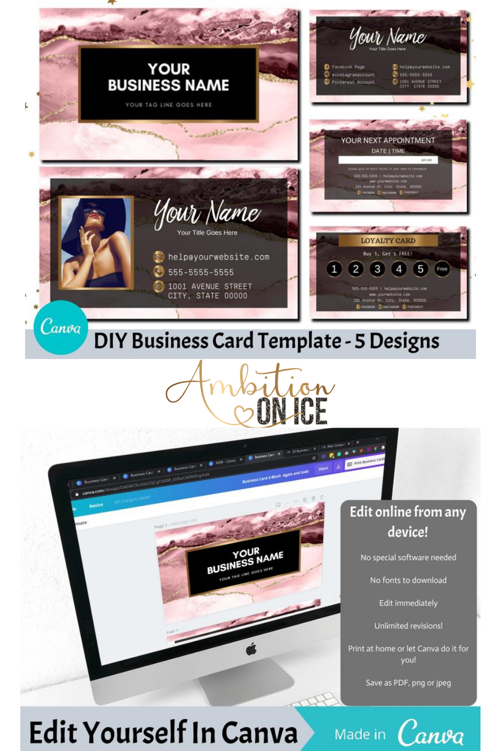 Blush Agate Business Cards Canva Template Gold Glitter Business Card Design Appointment Card And Loyalty Card Instant Download Blagg Glitter Business Cards Business Card Design Business Cards Diy Templates