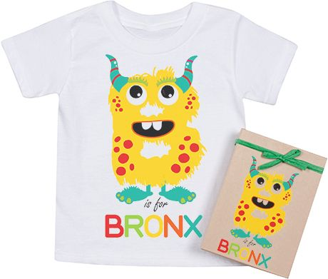 Organic ABC Monster Alphabet tee - Toddler size - Personalize with child's name