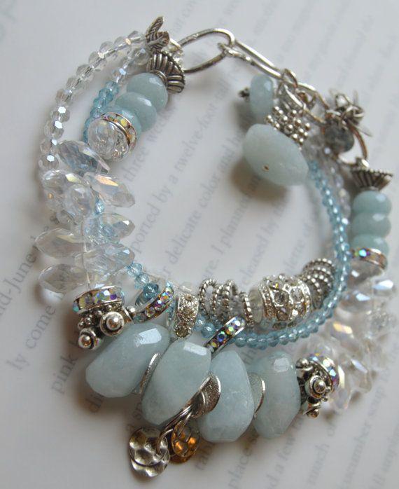 ON SALE chunky bracelet aquamarine bracelet coin by soulfuledges