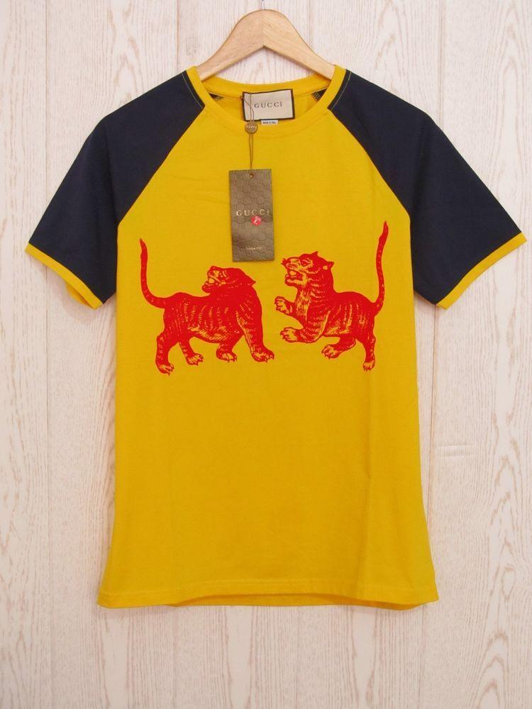0a9da44c 2018 NEW Gucci Men's yellow T-Shirts short round collar Size L #Gucci