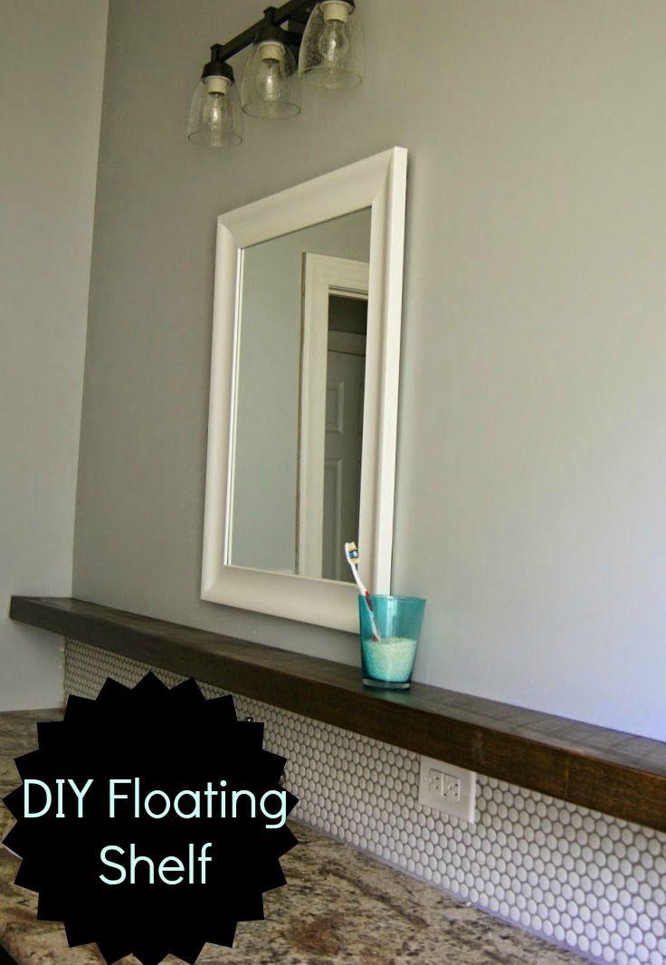 Penny Tile Backsplash And Floating Shelf Love It
