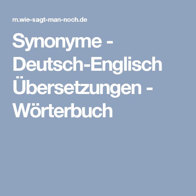 Synonyme Deutsch Englisch übersetzungen Wörterbuch Lernen