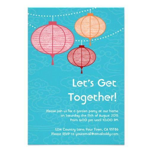 Garden Party Paper Lantern Invitations 3 5 X 5 Gardens Paper