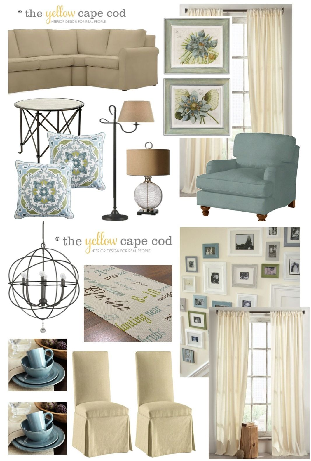 The yellow cape cod updated traditional two room design for Cape cod living room design
