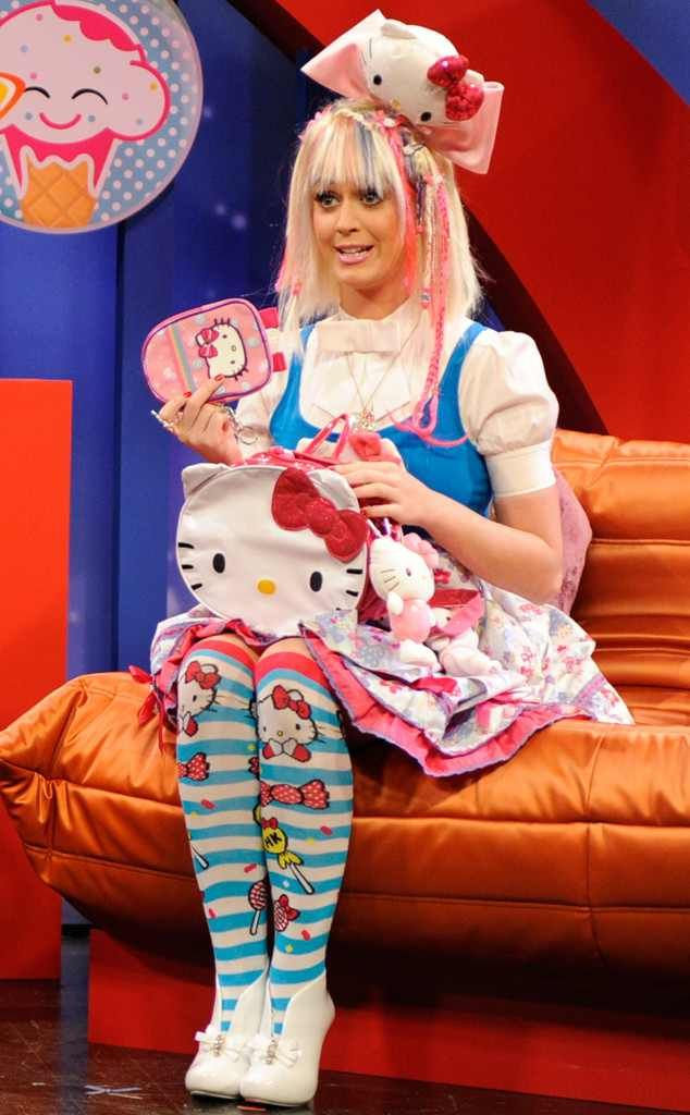 Katy Perry with lots of Hello Kitty
