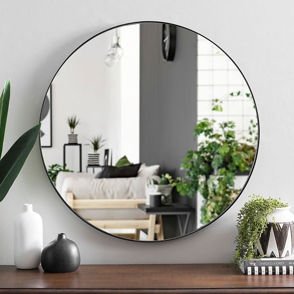 Round Black Metal Mirror 30 In Mirror Inspiration Living Room