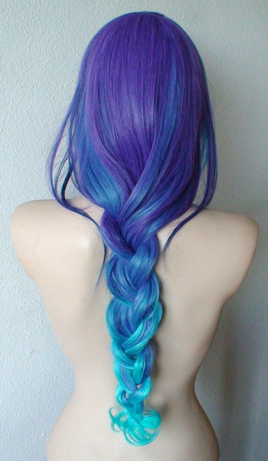 Teal purple blue ombre wig long curly hair with long by kekeshop