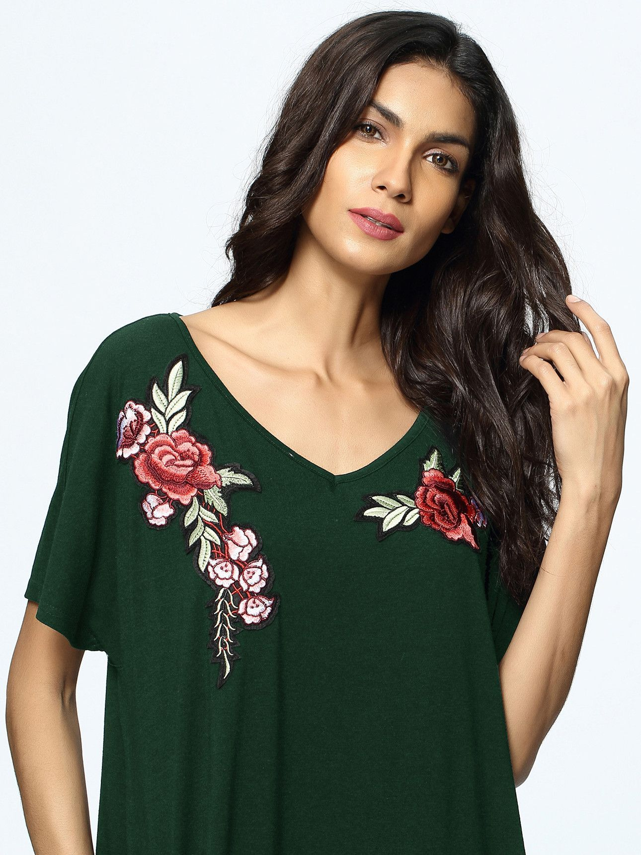 Green dress v neck  Green VNeck Rose Appliques Pockets Maxi Dress