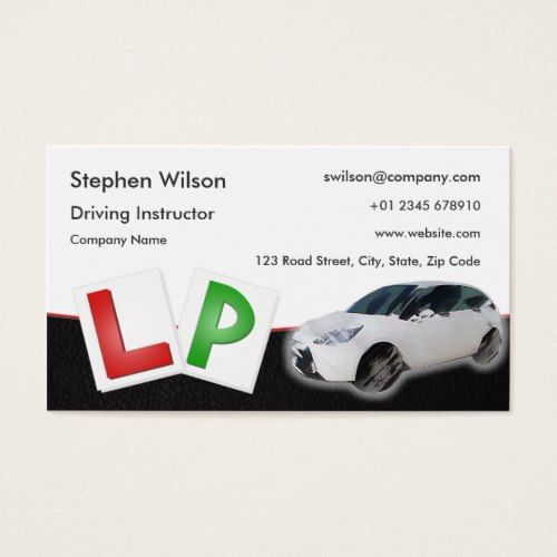 Driving Instructor Business Card Black Leather Zazzle Com Business Card Black Driving Instructor Professional Business Cards