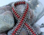 Superduo Band Bracelet; Cuff Bracelet; Bead Weaving; Superduo Bead Bracelet; Seed Bead Bracelet; Red Bracelet; Silver Bracelet