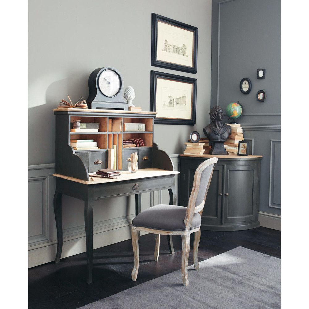 bureau secr taire en bois noir l 102 cm chenonceau esprit shabby chic maisons du monde un. Black Bedroom Furniture Sets. Home Design Ideas
