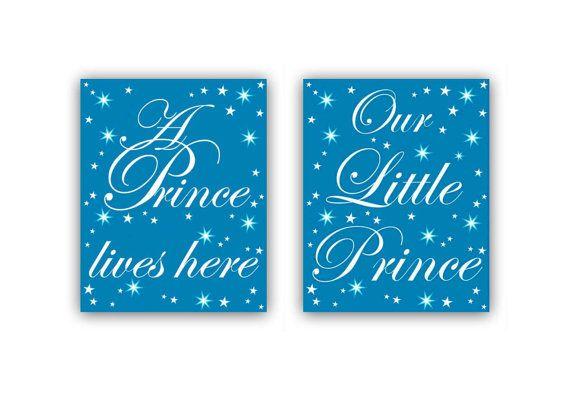 Baby Boy Nursery Little Prince Children's Wall Art SET OF 2 Art Prints, Teal Blue, Nursery Decor, Nursery Wall Art, Prince Kids Nursery Art