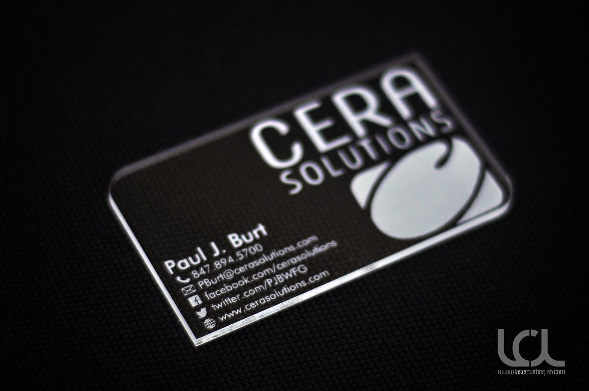 Laser engraved clear acrylic plexiglass business cards for Laser etched business cards