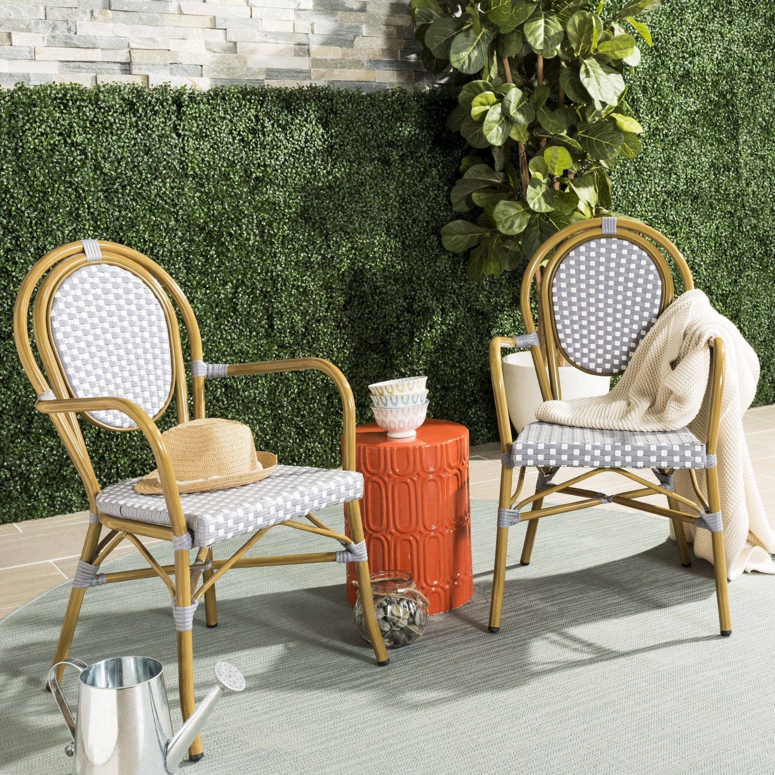 Safavieh Rosen French Bistro Stacking Grey White Arm Chair Set Of 2 Pat4014b Set2 Patio Furniture