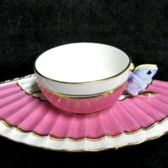 Fan shaped saucer and butterfly handle tea cup from the 1800s!!!!