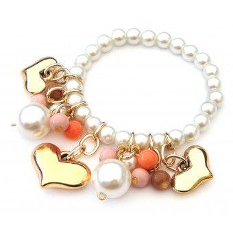 f0023de5e9be Pulsera con Perlas y Dijes de Corazón … | joyas | Pulse…