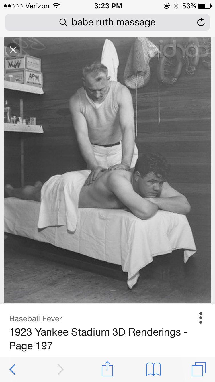 Babe Ruth Seen Receiving Medical Massage From His Athletic Trainer