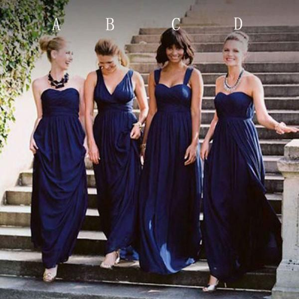 Mismatched Bridesmaid Dresses Dark Royal Blue Jersey Long Apd1811