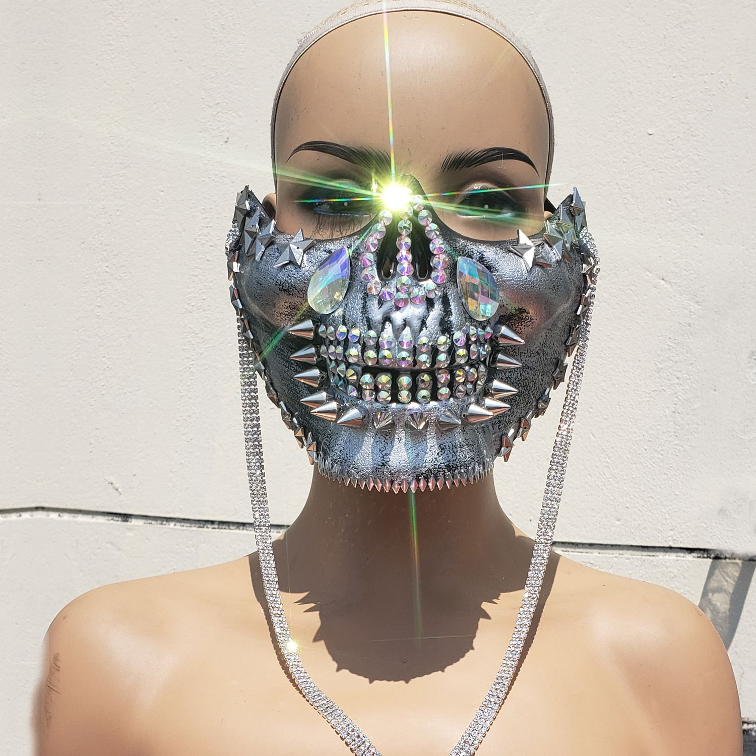 Halloween Rave Clothes 2020 Burning Man Rave Costumes ,Streampunk Mask,Halloween Silver