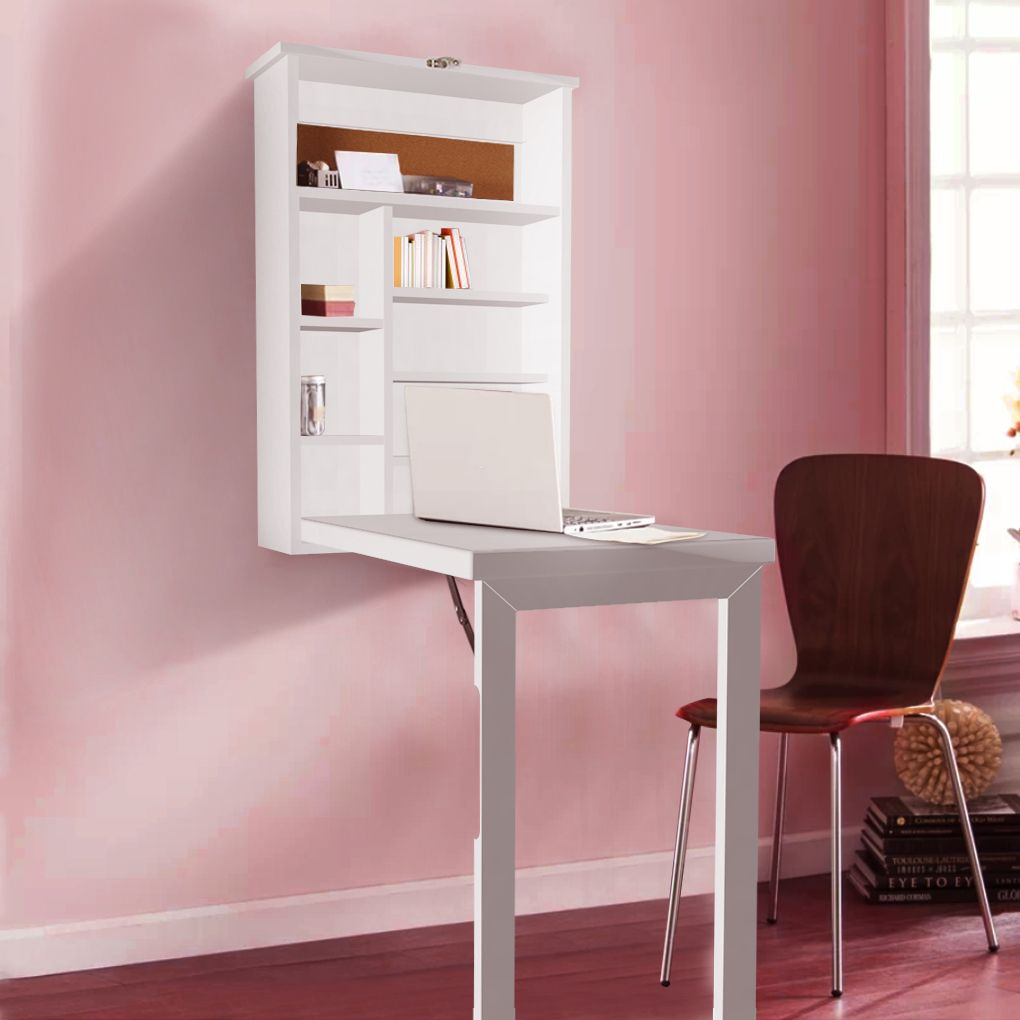 Convenient Wall Mount And Fold Out Design When You Use It The Storage Area Is Mounted On The Wall And The Desktop Wall Mounted Desk Fold Out Desk White Desks
