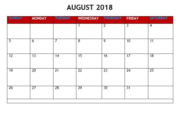 August 2018 Calendar PDF Calendar Printable 2018 Pinterest