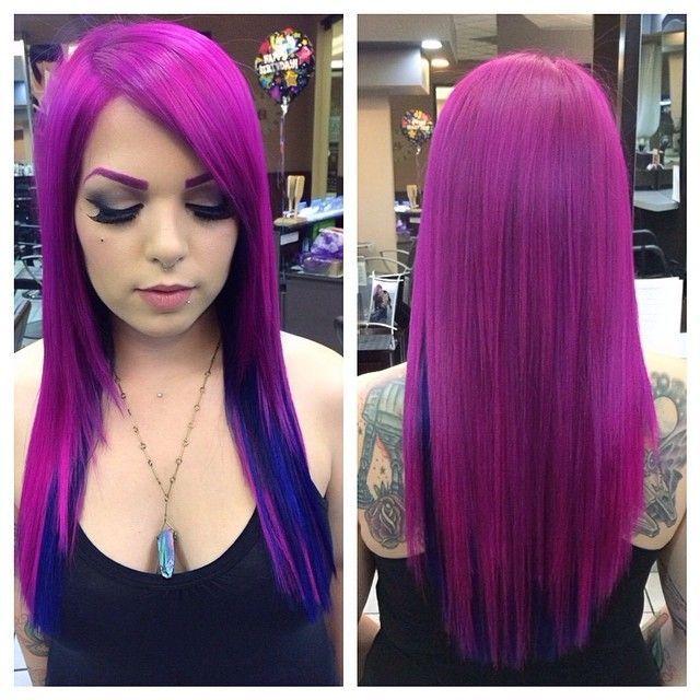 Purple hair with blue underneath sleek straight with bangs hair pravana vivids pink and blue bright hair color hair colors ideas pmusecretfo Gallery