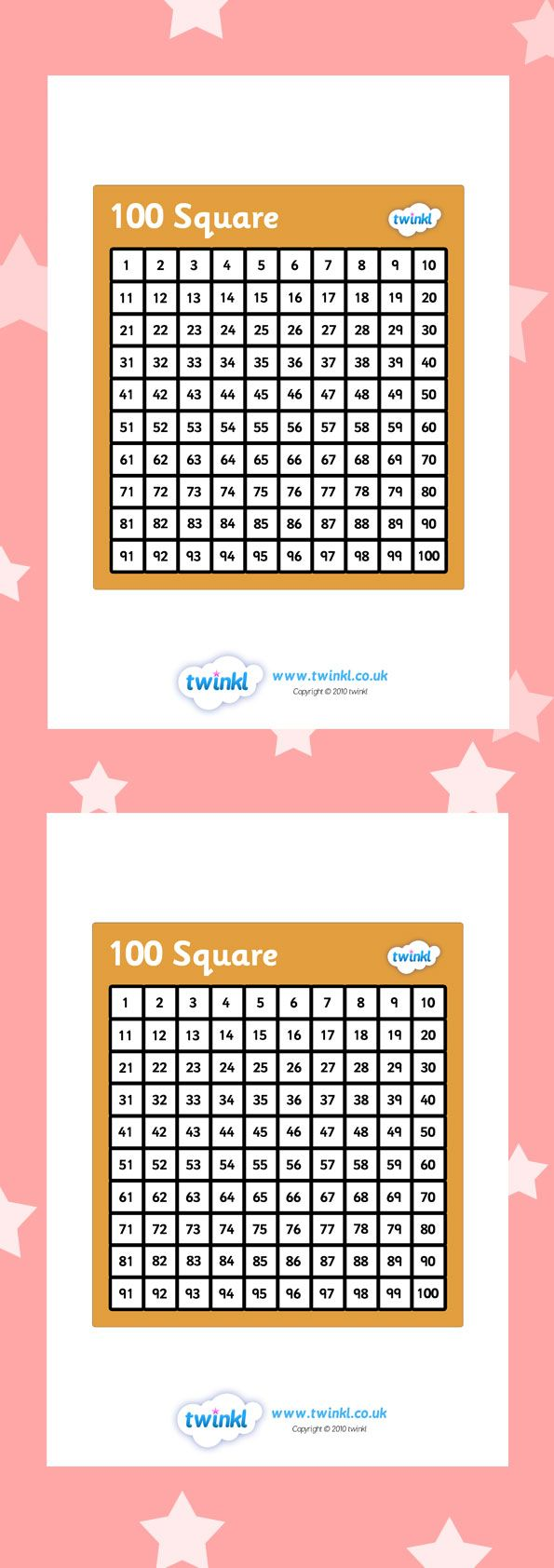 Twinkl Resources 100 Square Printable Resources For Primary